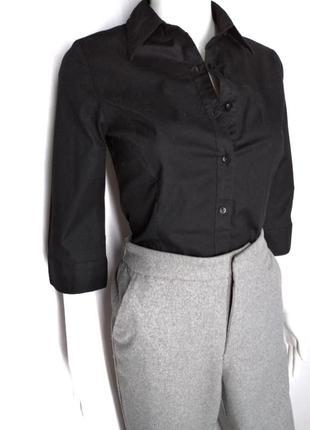 95% коттон базовая черная женская рубашка рукав 3/4 от h&m size 38