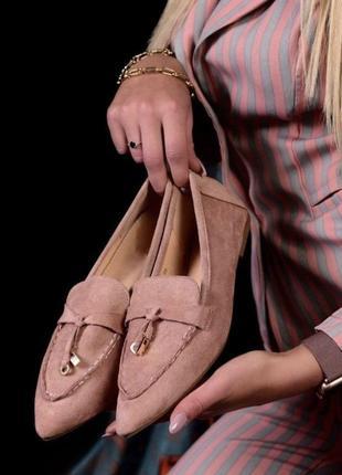 Базовые туфли лоферы эко замш