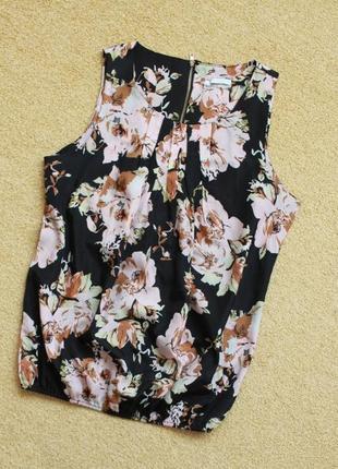 Блуза блузка майка jennifer taylor свободная цветочный принт низ резинка прямая