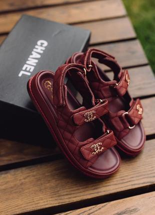 Босоножки в стиле chanel sandals bordo leather