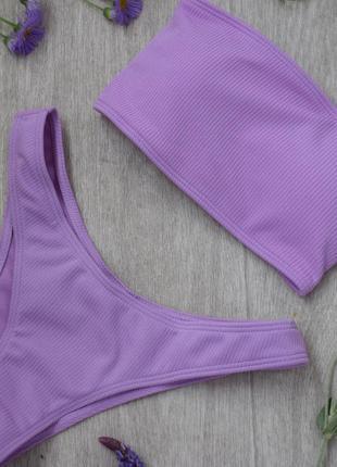 Купальник фиолетовый рубчик бандо