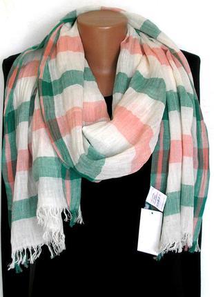 Большой коттоновый шарф палантин жатка, индия, -204х50см - новый, с биркой