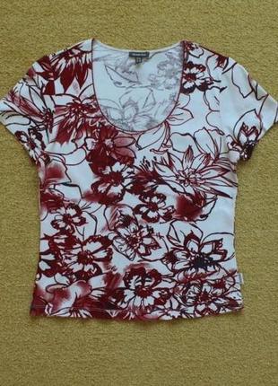 Блуза блузка футболка топ натуральная 100% хлопок цветочный принт цветы street one