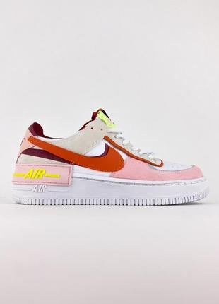 Кроссовки женские nike air force 1 shadow white pink.