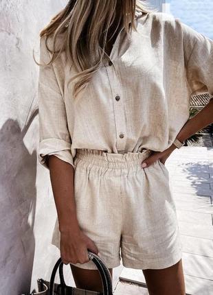 Льняной прогулочный женский летний свободный легкий костюм рубашка рукав три четверти и шорты лен