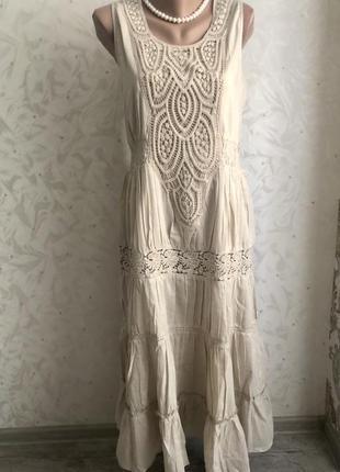 Шикарное платье сарафан вышитое выбитое прошва ришелье красивое модное стильное
