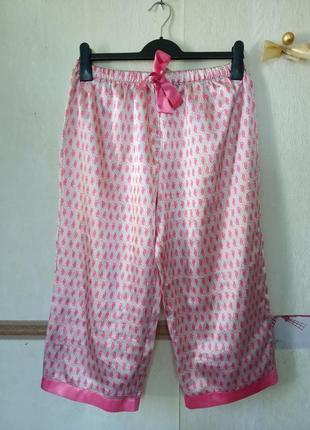 Атласные пижамные укороченные штаны