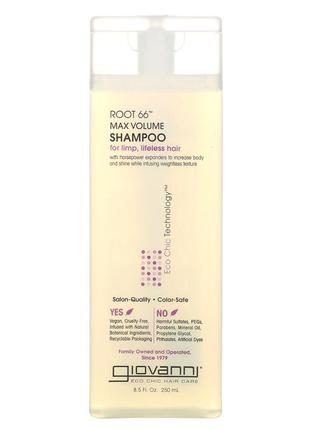Бессульфатный шампунь для максимального объема giovanni root 66 max volume shampoo