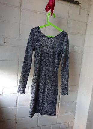 Платье вечернее миди с голой спиной люрекс ,блестящее h&m 32/155