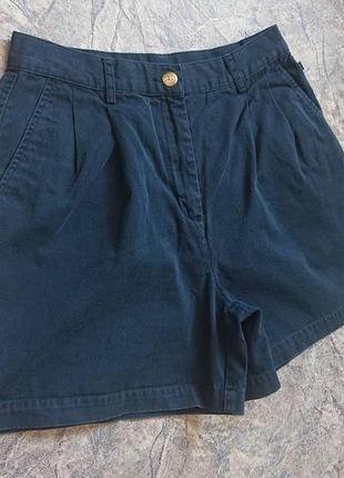 Хлопковые винтажные шорты высокая посадка#защипы #карманы