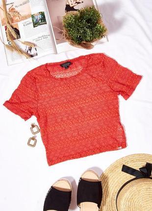 Прозрачный топ сетка, короткая футболка оранжевая, кроп-топ, женский топ футболка
