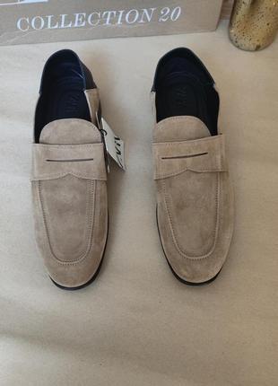 Туфли лоферы замш