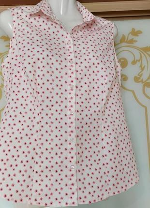 Стильная летняя блузка, рубашка в мелкий цветочек