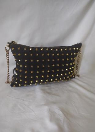 Женская сумочка кросс-боди натуральная кожа и замша