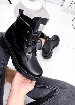 Рр 36,38,39,40,41.черные женские зимние ботинки из натуральной кожи