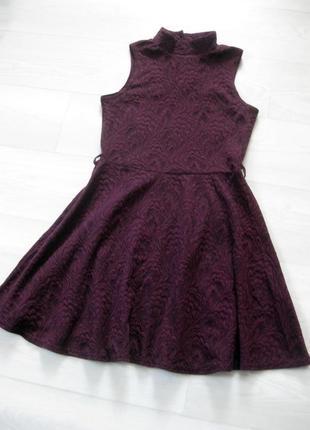 Платье atmosphere бордовое мини фактурное с горлом