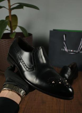 Cesare paciotti италия мужские кожаные туфли дерби с шипами размер 41