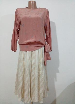 Шикарная винтажная блуза натуральный шелк