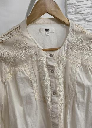 Удлиненная рубашка молочного цвета