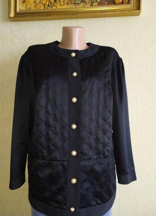 Винтажный фирменный стёганый пиджак жакет,р.46
