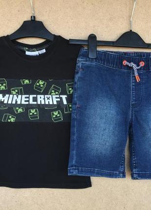 Джинсовые шорты и футболка minecraft майнкрафт р.6-7 лет next m&s h&m