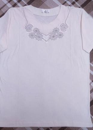 Молочная футболка с вышивкой короткий рукав alara