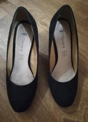 Балетки туфли чёрные на танкетке стелька кожа удобные 37 размер