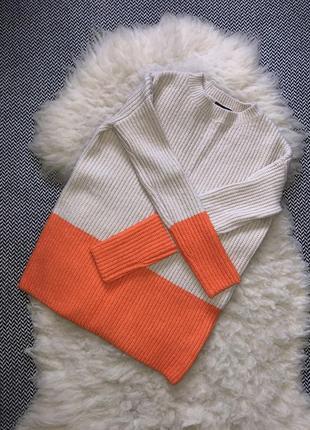 Свитер кофта вязаный акрил яркий акцентный оранжевый