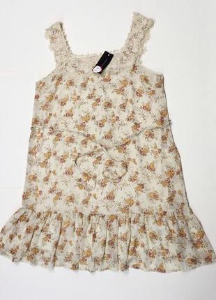 Красивое цветочное платье с кружевом от dorothy perkins, 16 р. новое!