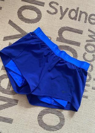 Синие спортивны двойные шортики nike