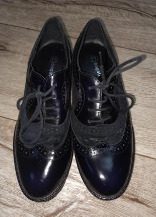 Туфли оксфорды  лакировання кожа замша