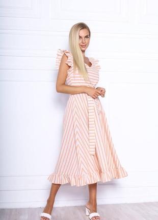 Платье в полоску. ткань лён