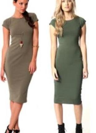 🍀хлопковое узкое платье цвета хаки с коротким рукавом