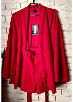 Красное платье на запах с шортами внутри prettylittlething/ромпер платье