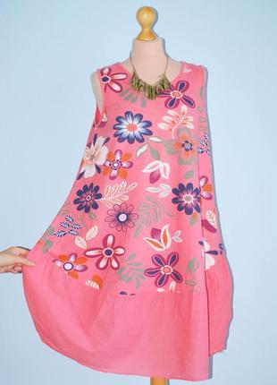 Италия батал оверсайз натуральный свободный легки сарафан платье на пляж домашнее