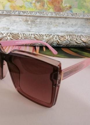 Эксклюзивные розовые брендовые солнцезащитные женские очки квадраты 2021