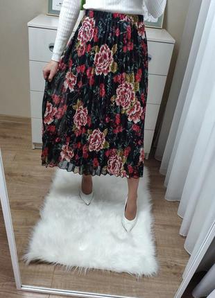 Шифоновая юбка миди гофре
