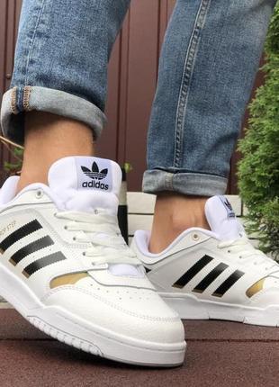 Кросівки чоловічі адідас / кроссовки мужские кожаные белые, adidas drop step