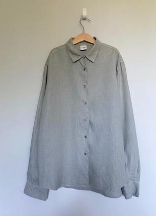 Светло-серая рубашка, премиум бренд aspesi, италия, 100 % лен