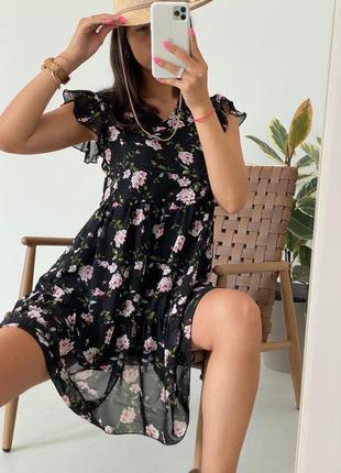 Платье летнее женское легкое короткое свободное шифоновое белое черное