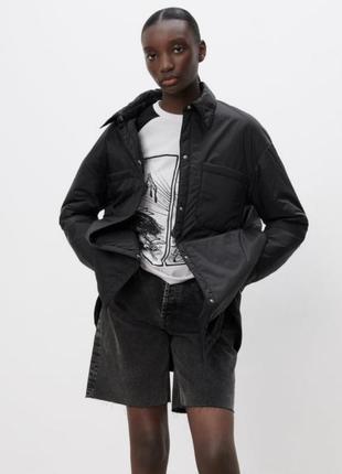 Чёрная куртка-рубашка зара zara xs s m l