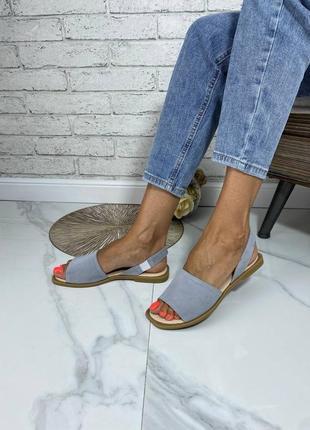 Стильные женские кожаные замшевые босоножки сандалии, серые