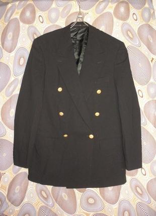 Двубортный тонкой шерсти жакет пиджак с мужского плеча hugo boss винтаж хит