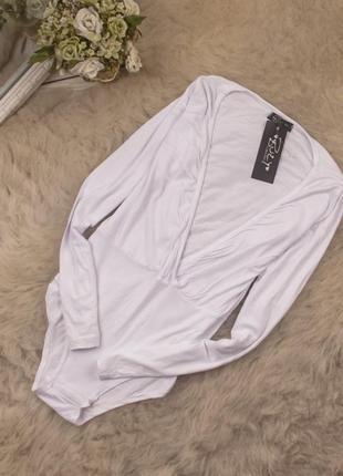 Красивый натуральный боди блуза от buzy рр 12\16 наш 46\50