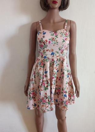 Котоновий сарафан з квітковим принтом(платье с цветочным принтом)