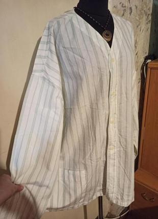 Натуральная-хлопок,блузка с карманами,жакет летний,большого размера,батал,италия