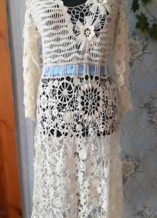 Вязаное ажурное платье зимние фантазии
