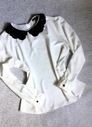 Блуза белая с черным воротником atmosphere-xl,xxl.