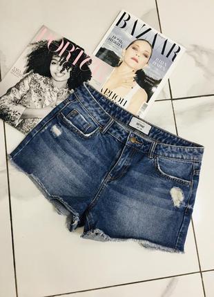Красивые синие джинсовые шорты с рваностями от new look  1+1=3 на всё 🎁