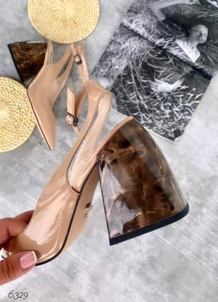 Туфли лодочки с шикарным мраморным каблуком
